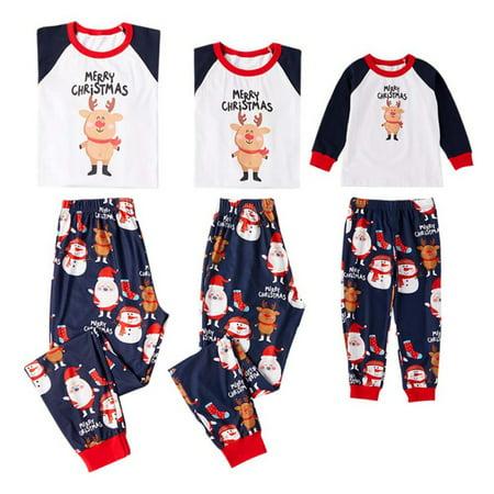 f7ba81425e Ropalia - Ropalia Family Matching Christmas Pajamas Sets Dad Mom Kids  Sleepwear Outfits - Walmart.com