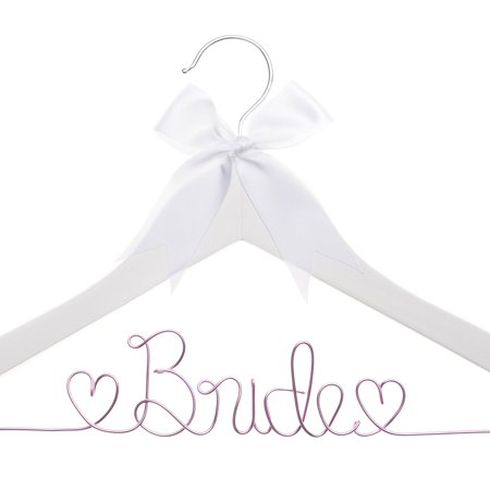 Bride to Be Wedding Dress Hanger Wooden and Wire Hangers for Brides (White Wood Pink Wire) Wood Dress Hanger