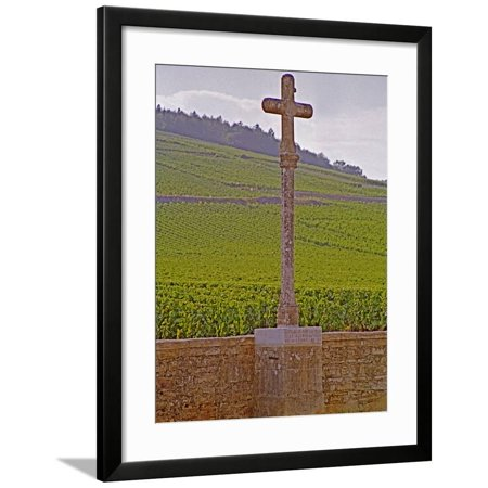 Stone Cross Marking the Grand Cru Vineyards, Romanee Conti and Richebourg, Vosne, Bourgogne, France Framed Print Wall Art By Per Karlsson