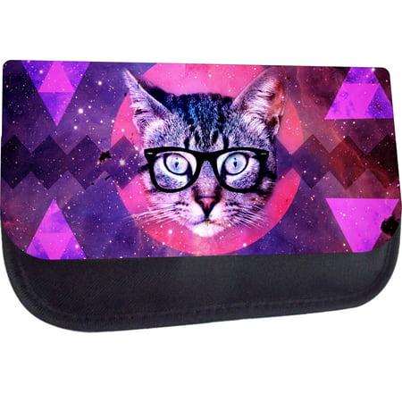 Hipster Galactic Kitten in Glasses - Girls Black Pencil Bag - Pencil (Girls In Hipster Glasses)