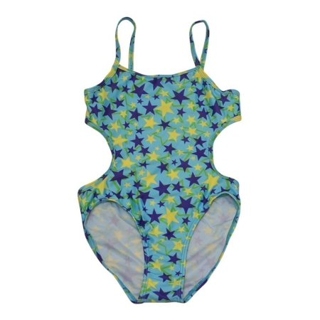 Starfish Little Girls Blue Star Print Trendy One Piece Monokini Swimsuit - Trendy Monokini