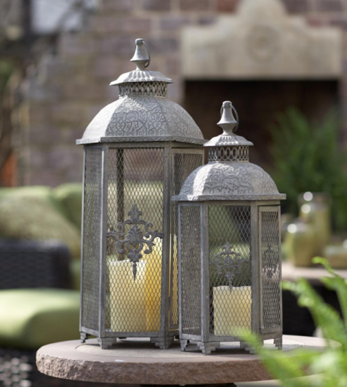 "Set of 2 Gray Antique Style Mesh Lantern Pillar Candle Holders 25.5"""