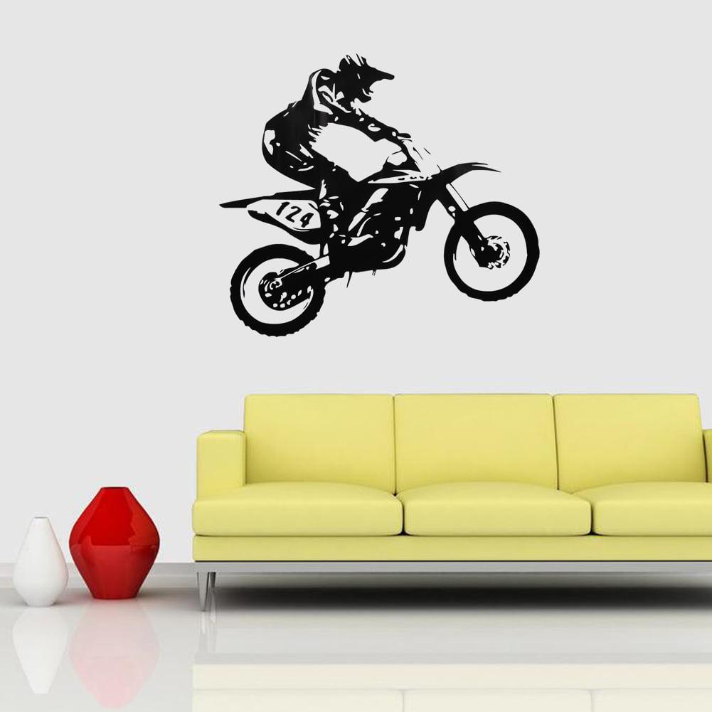 1Pc PVC Motor-racing Pattern Wall Sticker Motor-Racing Art Vinyl ...