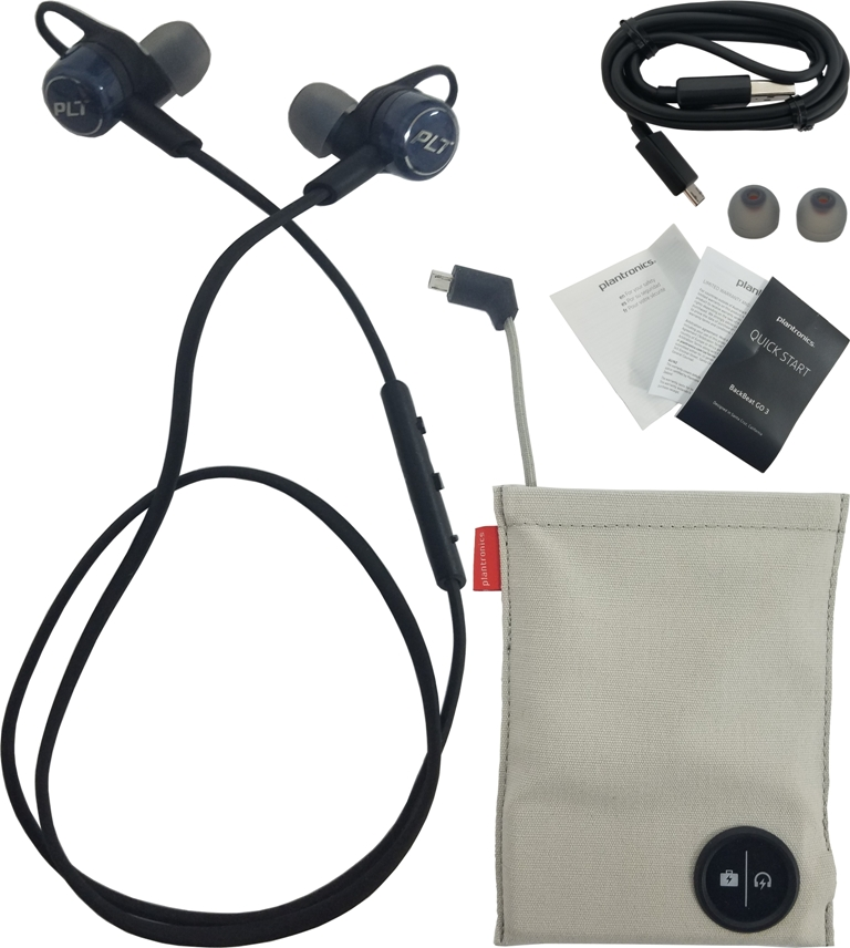 Plantronics Moisture-Resistant Earphones - Wireless - Bluetooth with Charging Case Cobalt Black (Refurbished)