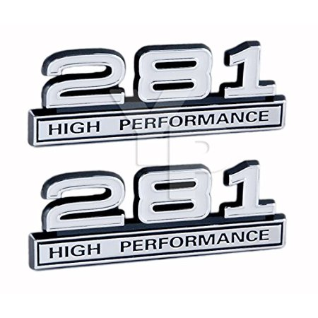 281 4.6 Liter High Performance Engine Emblems in Chrome & White Trim - 4