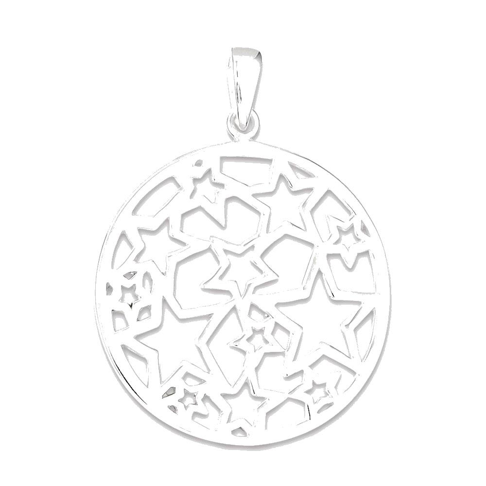 Sterling Silver Star Filigree Round Pendant