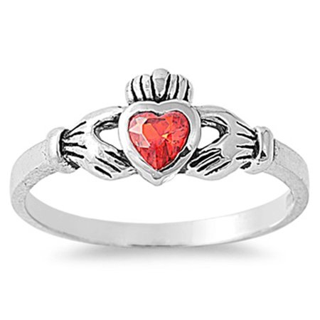 Sterling Silver Stunning Women's Flawless Simulated Ruby Cubic Zirconia Claddagh Heart Ring (Sizes 1-9) (Ring Size (White Gold Ruby Claddagh Ring)