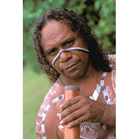 Australia Queensland Caims Aboriginal Didgeridoo Canvas Art - Bill Bachmann DanitaDelimont (18 x 27)