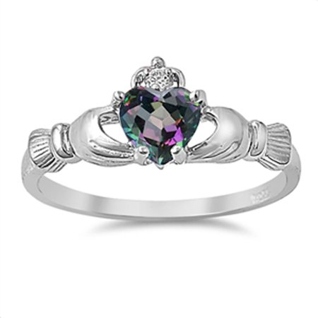 Sterling Silver Women's Flawless Rainbow Simulated Topaz Cubic Zirconia Friendship Claddagh Heart Ring (Sizes 2-13) (Ring Size 12)