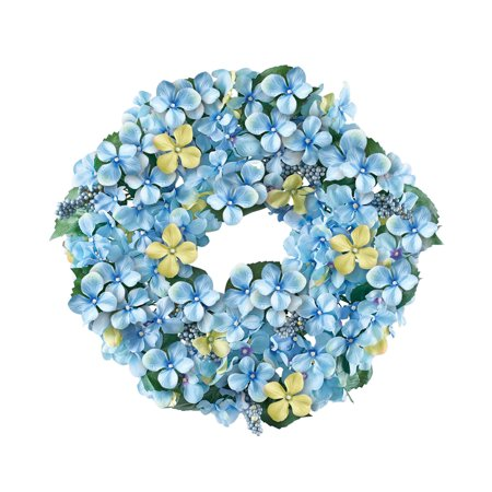 Blue Hydrangea and Berries Floral Wreath  - Spring Décor for Home or Outdoor