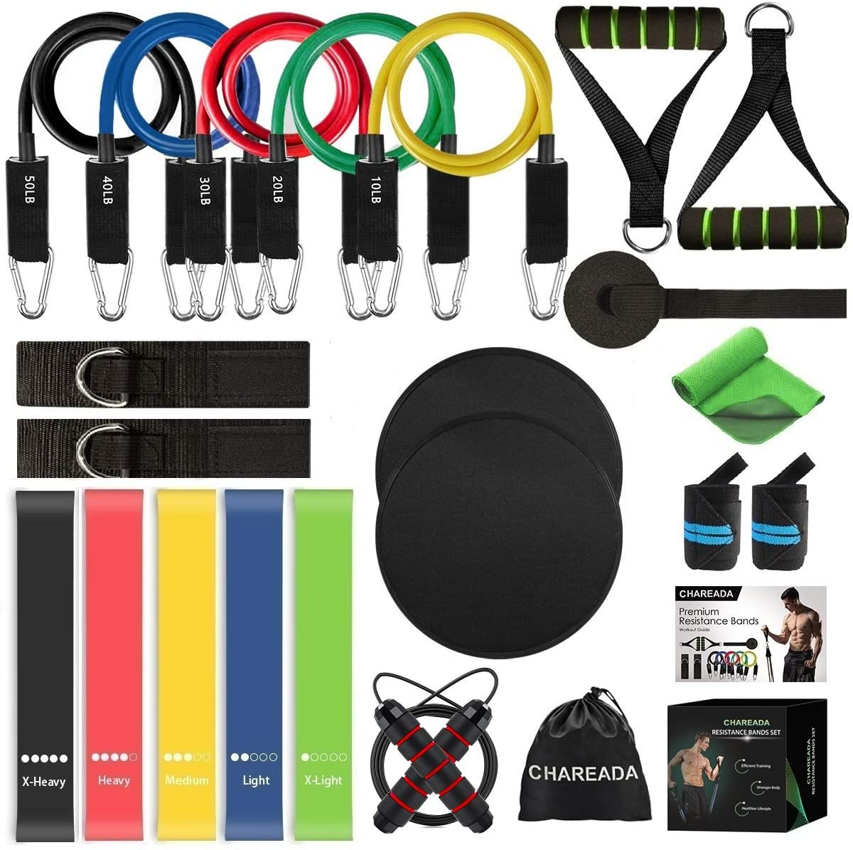 2 Core Sliders 5 Resistance Loop Bands Set for Core /& Full Body Workout