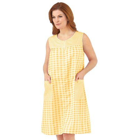 Yellow Cotton Dress - Women's Zip Front Sleeveless Pocket Dress, Xxx Large, Yellow