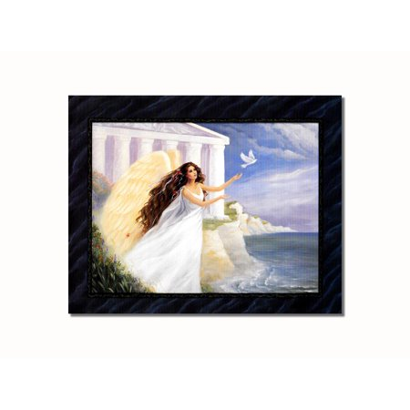Brunette Angel Releasing Dove Greek Building Wall Picture 8x10 Art Print