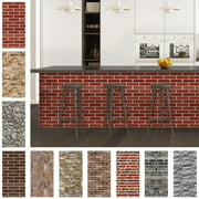 CUH Vintage Brick Wallpaper Stick and Peel Faux Retro Brick Self Adhesive Film Paper Decorative Wall Covering Removable Waterproof Wall Paper Kitchen Backsplash Cabinet Wall Decoration