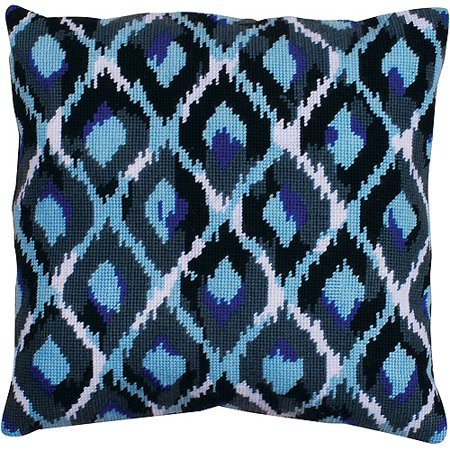Blue Ikat Needlepoint Kit  12  X 12   Stitched In Yarn