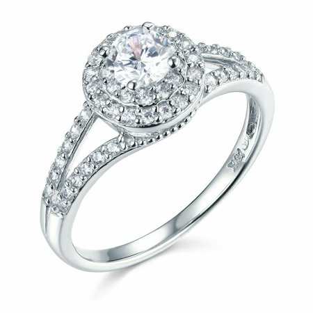 Solid 14k White Gold 4 Prong CZ Cubic Zirconia Round Cut Wedding Engagement Ring (0.4 ct.)