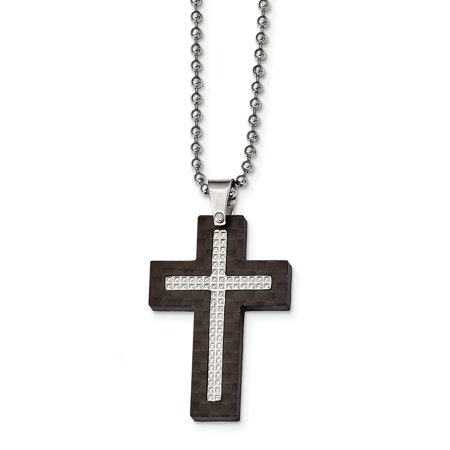 Mia Diamonds Stainless Steel Polished Studded Black Solid Carbon Fiber Cross Necklace Chain
