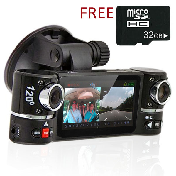 "Indigi® F600 Car DVR DashCam w/ Dual Rotating Cameras (Front+Rear) Driving Recorder 2.7"" LCD w/ 32gb microSD Included"