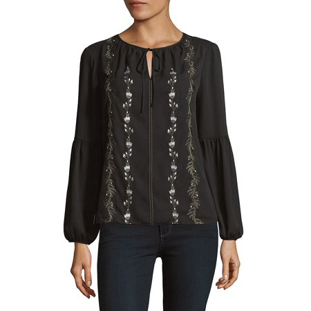 Embroidered Bishop-Sleeve Top