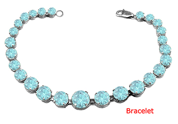 Sterling Silver Created Aquamarine Prong Set Bracelet March Birthstone Jewelry by Love Bright