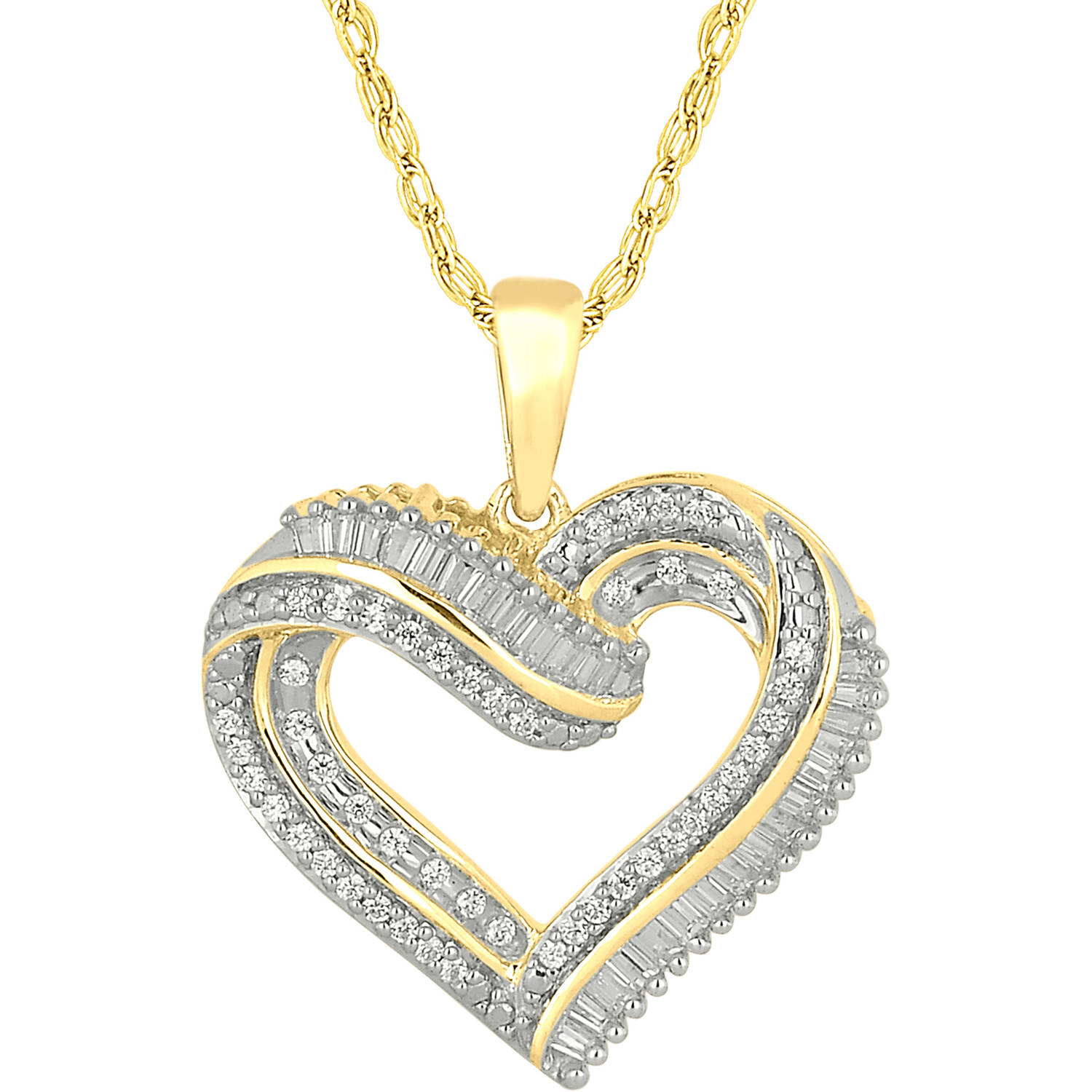 1 3 Carat T.W. Round and Baguette Diamond 10kt Yellow Gold Heart Pendant by INTERJEWEL