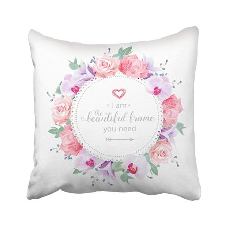 ARTJIA Beautiful Wedding Floral Purple Orchid Violet Campanula Bell Flower Rose Carnation Pillowcase Throw Pillow Cover 18x18 inches