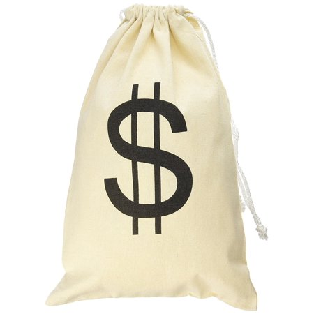 Large Canvas Natural Money Bag Pouch with Drawstring Closure and Dollar Sign Design Toy Theme Party Favors by Super Z Outlet](Prince Themed Party)