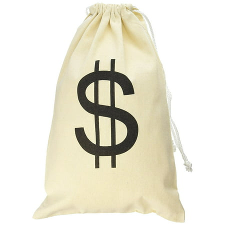 Large Canvas Natural Money Bag Pouch with Drawstring Closure and Dollar Sign Design Toy Theme Party Favors by Super Z Outlet