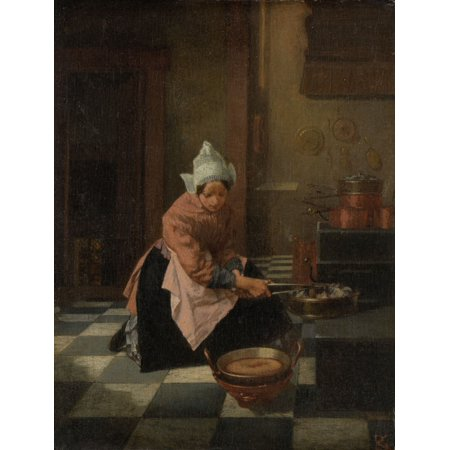 The Waffle Baker By Alexander Hugo Bakker Korff C 1850-82 Dutch Painting Oil On Panel Kitchen Scene Of A Woman With A Waffle Iron In Her Hand Below A Waffle Is Baking Poster Print - Kitchen Oil Painting
