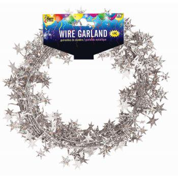 SKD Stars Graduation Decoration School Color 25 FT Wire Garland (Silver Stars Decorations)
