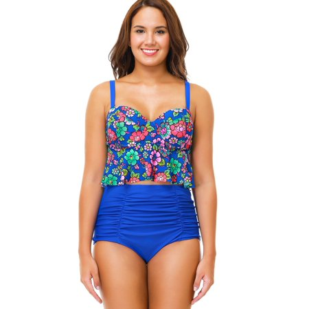 cb40e143f58 SENFLOCO - Senfloco Women Plus Size Swimwear 2pcs Tankini Set Bathing Suit  Floral Swimsuit with Padded Bra Top & High Waisted Bottom, L-4XL -  Walmart.com