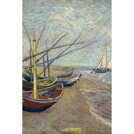 Art Journal: Fishing Boats on the Beach - Vincent Van Gogh Art Cover College Ruled Notebook 110 Pages Paperback