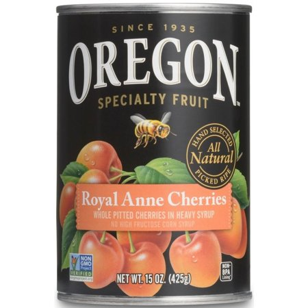 India Sweet Fruit - Oregon Specialty Fruit Whole Pitted Sweet Royal Anne Cherries in Heavy Syrup, 15 Oz