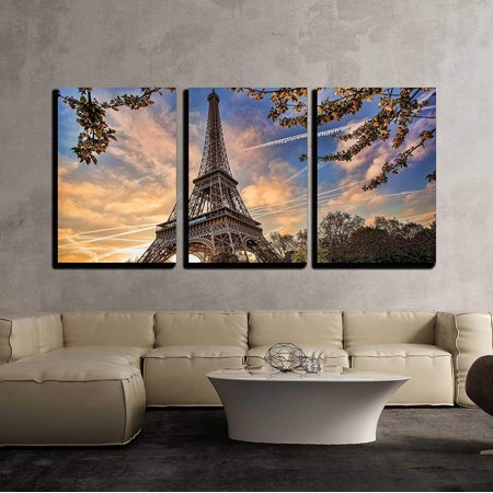 """wall26 - 3 Piece Canvas Wall Art - Eiffel Tower with Spring Tree in Paris, France - Modern Home Decor Stretched and Framed Ready to Hang - 24""""x36""""x3 Panels"""