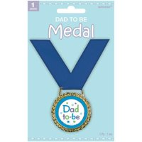 """Amscan Delightful Dad To Be Medal of Distinction Baby Shower Party Novelty Favors, 2"""", Blue/Gold"""