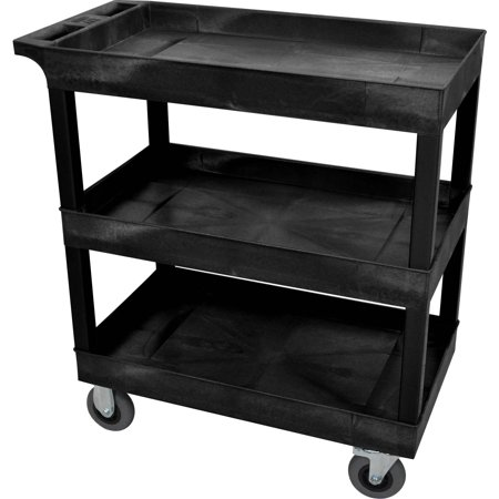 Luxor 3-Tub Shelf Cart with 5″ Casters, Black
