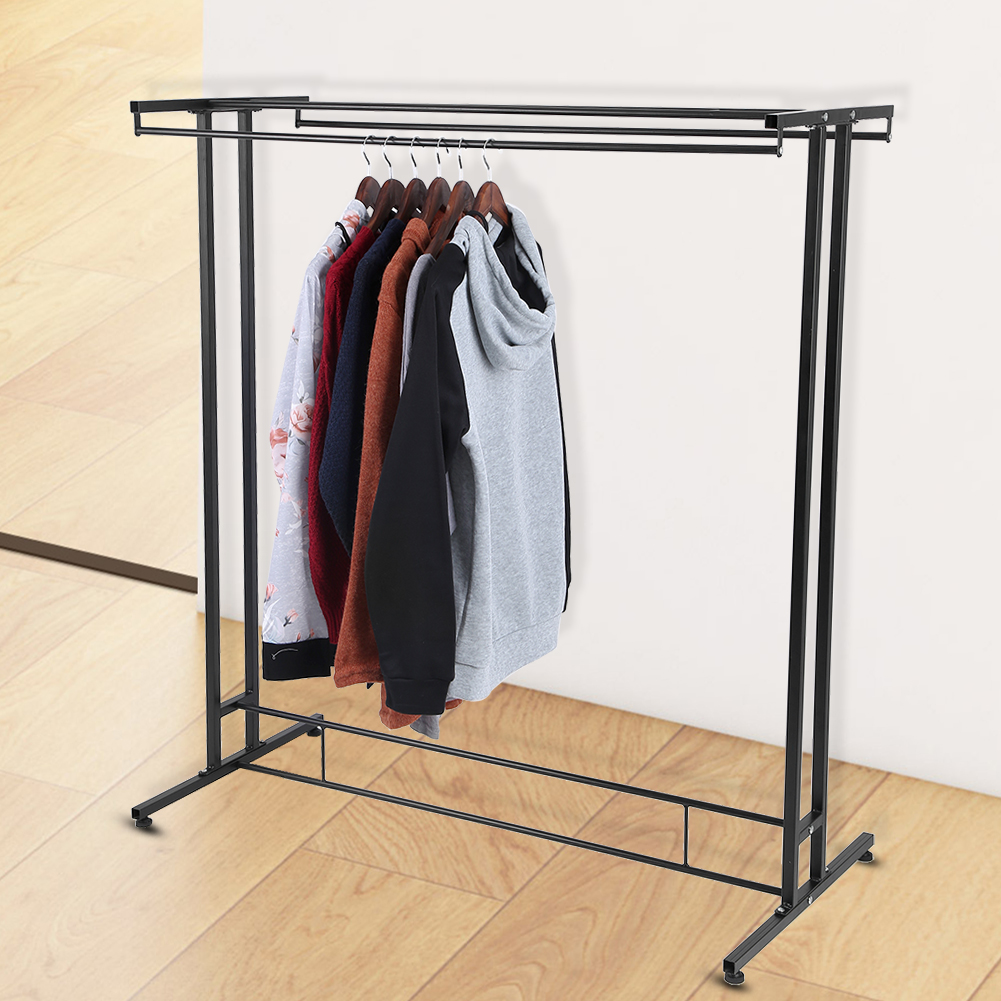 Lv. life Durable Metal Double Rods Home Garment Rack Organizer Commercial Clothes Display Shelf, Clothing Rack, Double Garment Rack