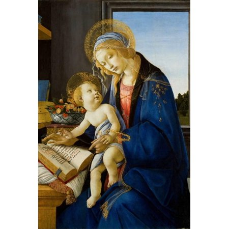Mara Painting - Madonna of the Book (Madonna Del Libr), 1480 Renaissance Virgin Mary and Child Painting Print Wall Art By Sandro Botticelli