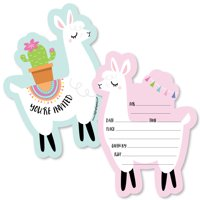 Whole Llama Fun - Shaped Fill-In Invitations - Llama Fiesta Baby Shower or Birthday Party Invitation Cards - Set of 12