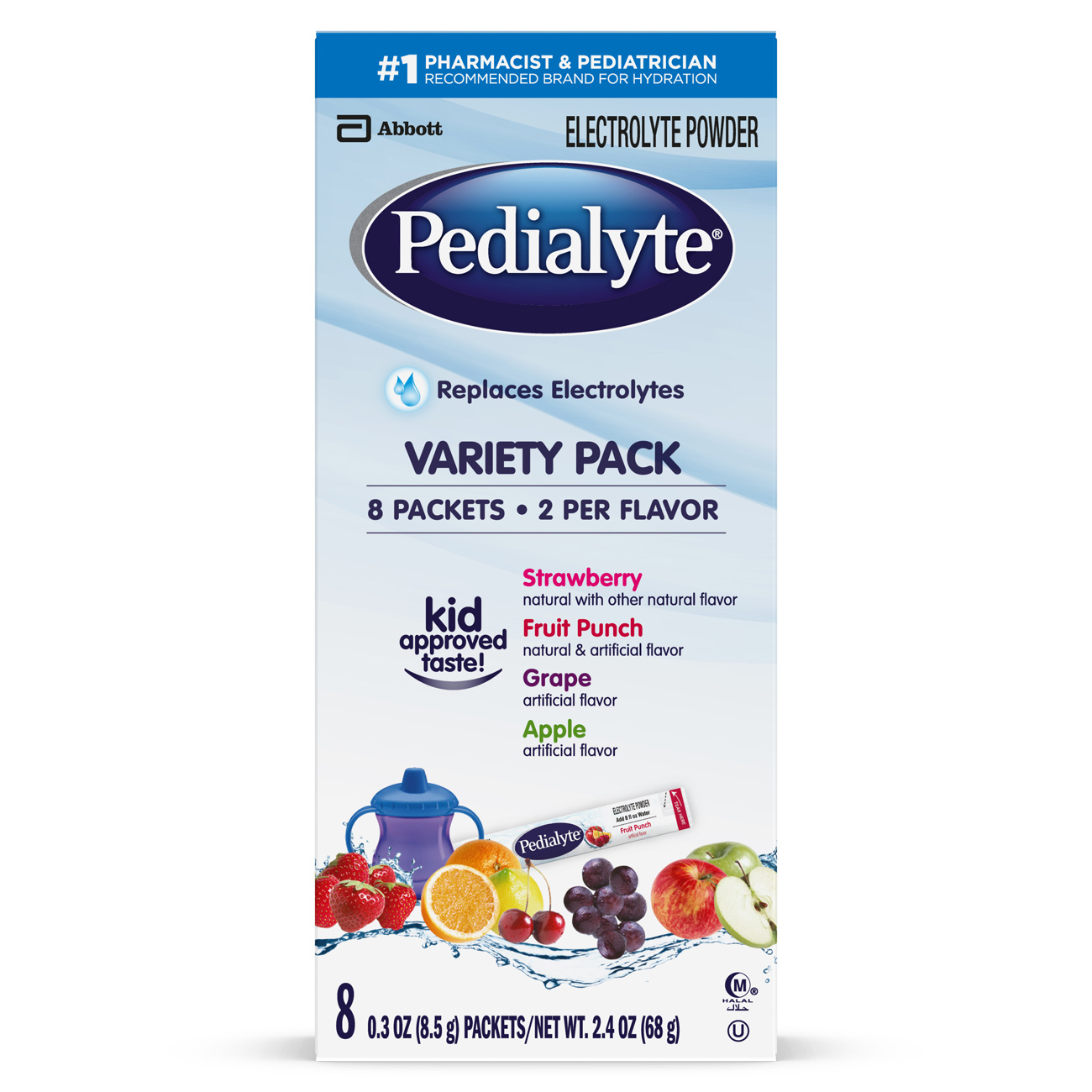 Pedialyte Electrolyte Powder, Electrolyte Drink, Variety Pack, Powder Sticks, 0.3 oz (Pack of 8)