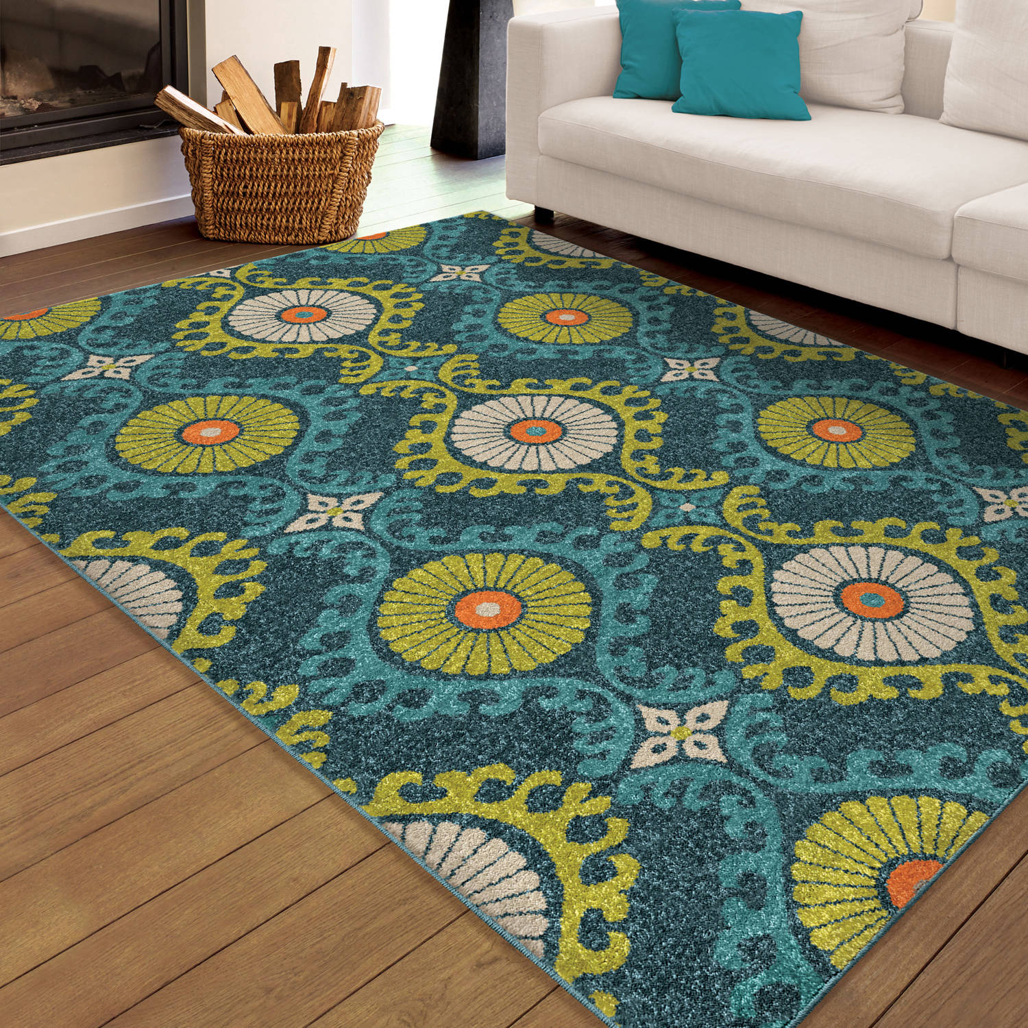 Orian Rugs Bright Indoor Outdoor Scroll Medallion Floating