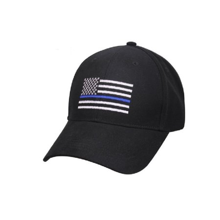 Adult Thin Blue Line Embroidered Flag Black Ball Cap Support Police, Low profile By RTC Police Ball Cap