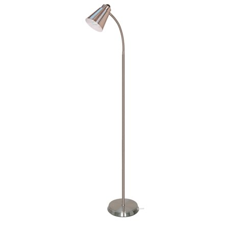 Satco 64 inch gooseneck gu24 brushed nickel floor lamp 1 for Satco gooseneck floor lamp