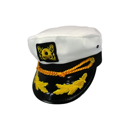 Yacht Boat Captain Hat Sailor Ship Navy Marines Admiral Cap Hat White Gold 23400](Sailors Hat)