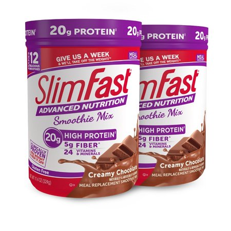 SlimFast Advanced Nutrition Creamy Chocolate Smoothie Mix - Weight Loss Meal Replacement - 20g of protein - 11.01 oz. Canister - 12 servings (Pack of 2) Extreme Smoothie Chocolate