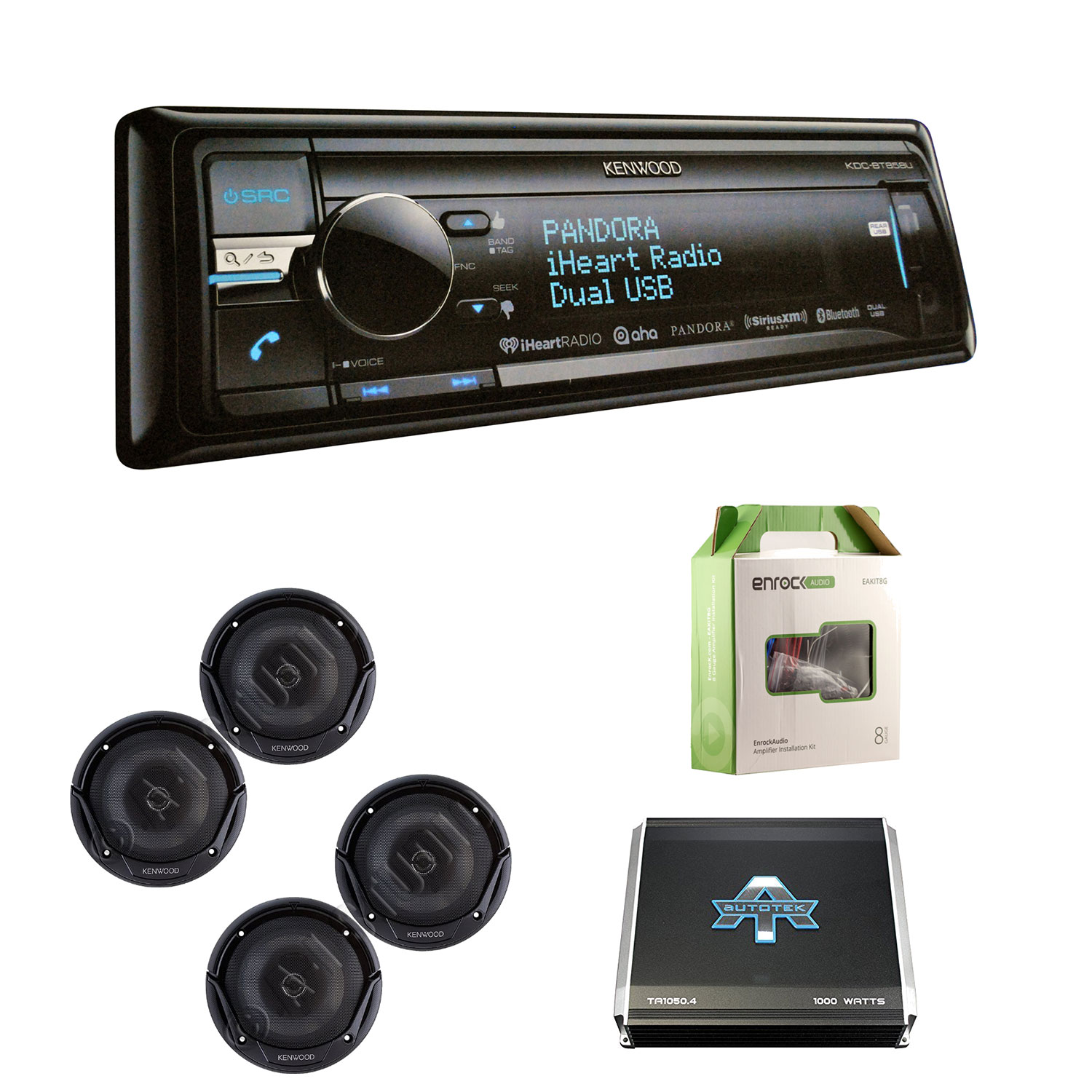 "Kenwood KDCBT858U CD Player Bluetooth USB SiriusXM Receiver With Kenwood KFC1665S 6.5"" 2-Way Car Speakers (2 Pairs), Autotek TA10504 1000W, 4 Chan Amp & Enrock EAKIT8G 18 Gauge 50 Feet Speaker Wire"