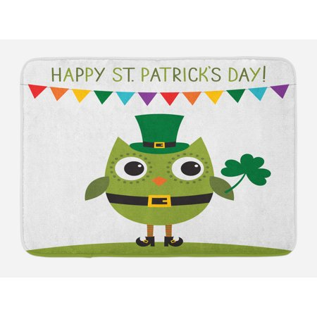 St. Patrick's Day Bath Mat, Owl with Leprechaun Costume Greeting Design for Party Shamrock Pattern, Non-Slip Plush Mat Bathroom Kitchen Laundry Room Decor, 29.5 X 17.5 Inches, Multicolor, Ambesonne - Shamrock Costume