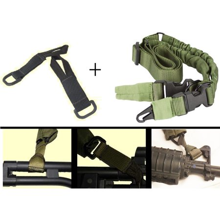Idf Israeli Defense Forces Pair Of Slip On Black Mount Strap Loop Adapter Attachment With D Ring   Multi One Two Point Sling  Od Olive Drab Green Fnh Fn Fal Kel Tec Keltec Su 17 Su17