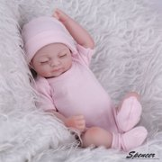 """Spencer 11"""" Newborn Reborn Baby Lifelike Dolls Full Body Handmade Realistic Silicone Vinyl Weighted Lovely Cute Doll Gifts,for Ages 3+ """"Pink Girl"""""""