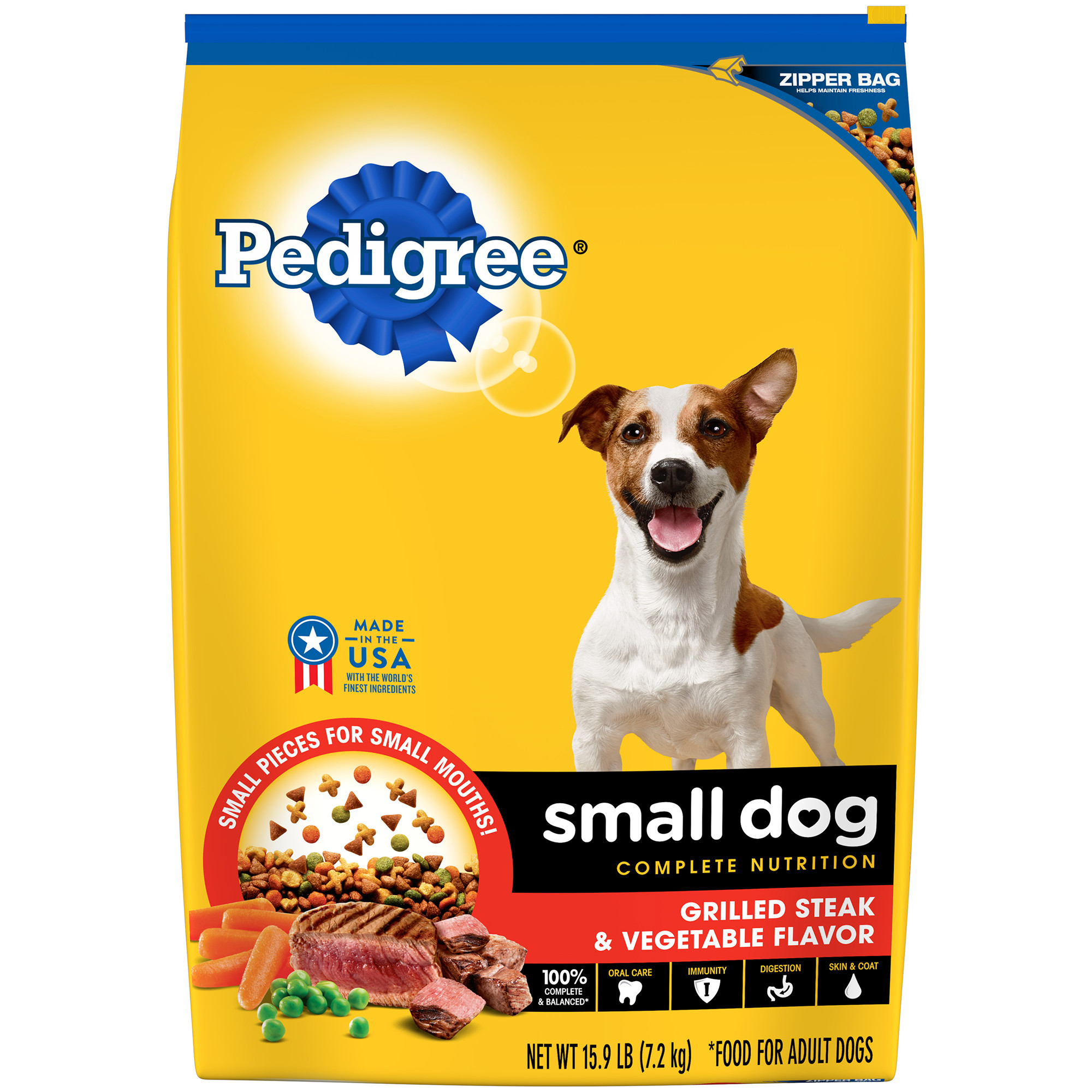 PEDIGREE Small Dog Adult Complete Nutrition Grilled Steak and Vegetable Flavor Dry Dog Food 15.9 Pounds